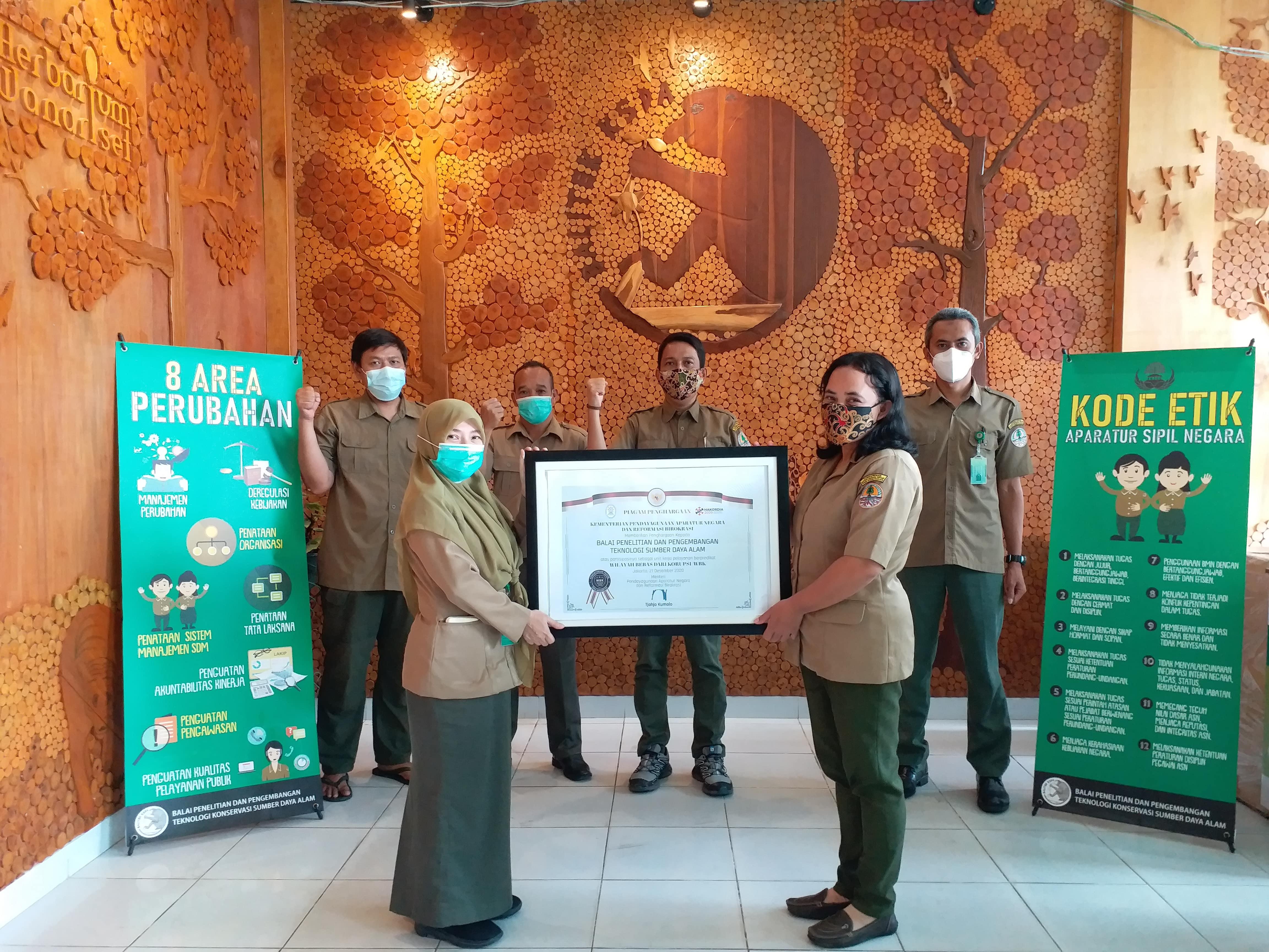 Raih Penghargaan WBK 2020, Balitek KSDA: Pelayanan Berkualitas dan Bebas dari Korupsi adalah Keharusan