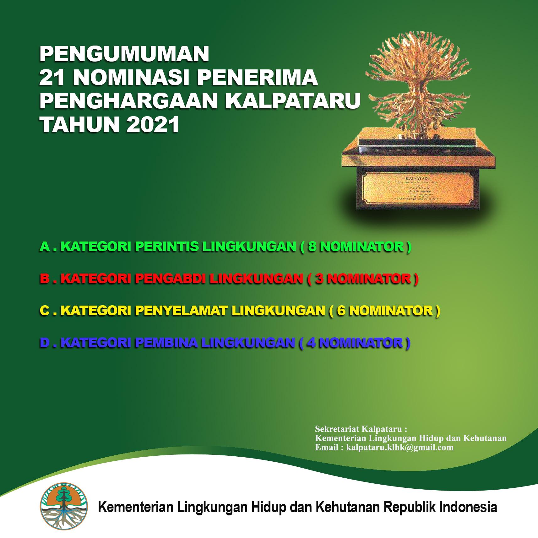 Pengumuman 21 Nominasi Penerima Penghargaan KALPATARU Tahun 2021